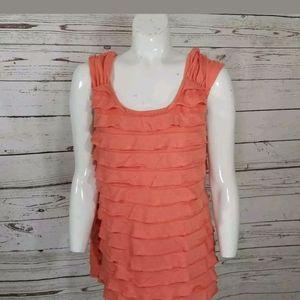 💜 AB Studio Blouse Orange Sleeveless Large
